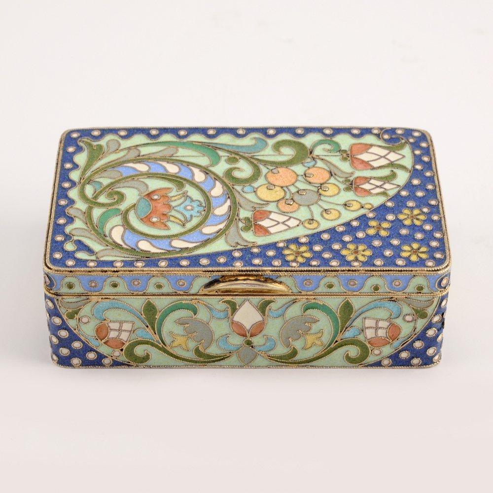 A Russian gilded silver & cloisonne enamel snuff box