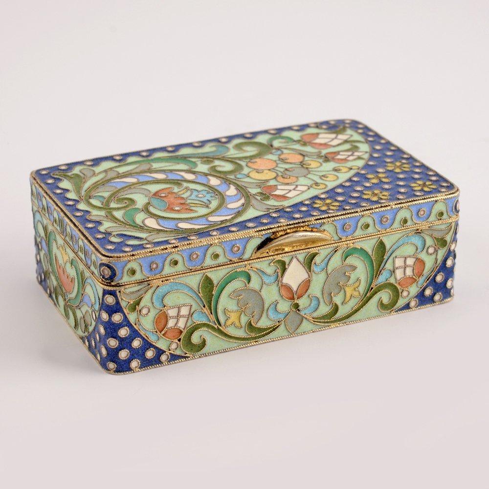 A Russian gilded silver & cloisonne enamel snuff box - 2