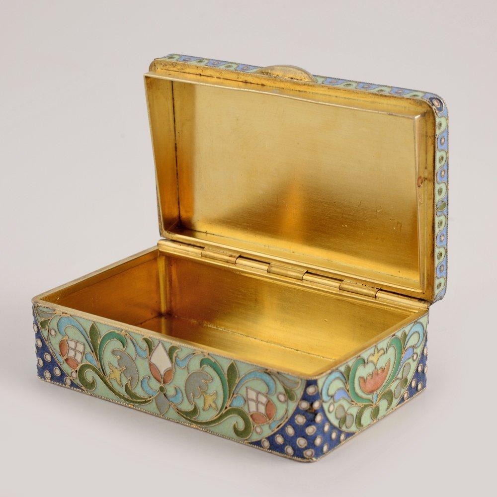 A Russian gilded silver & cloisonne enamel snuff box - 4