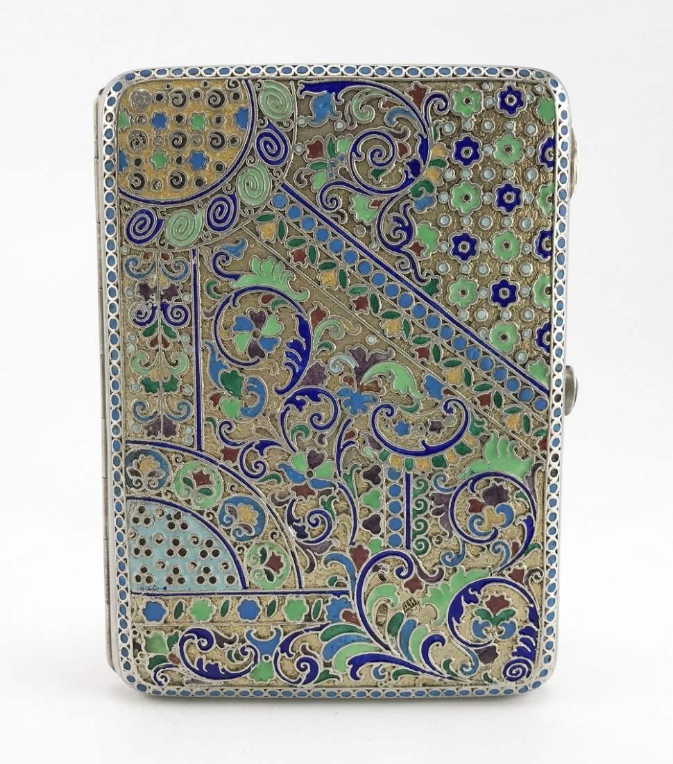 Russian gilded silver & cloisonne enamel cigarette case
