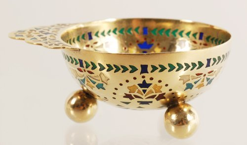A Russian gilded silver and plique-a-jour enamel charka