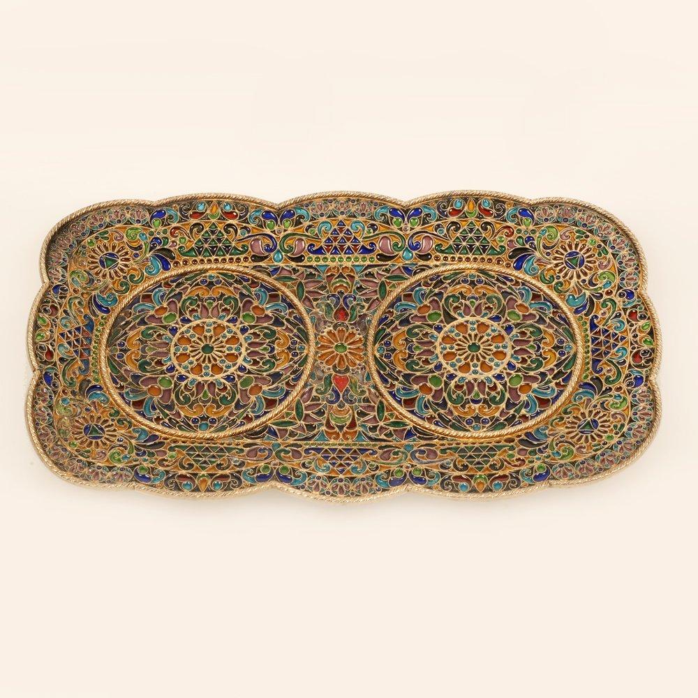 Large Russian plique-a-jour enamel tray