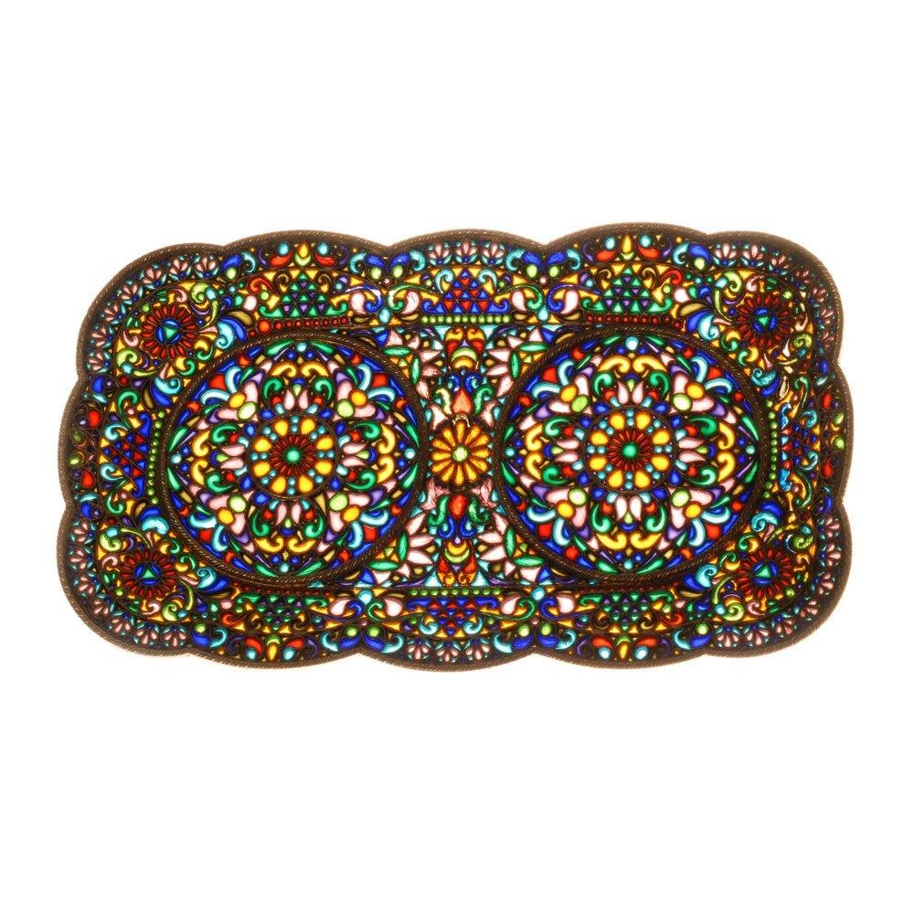 Large Russian plique-a-jour enamel tray - 2