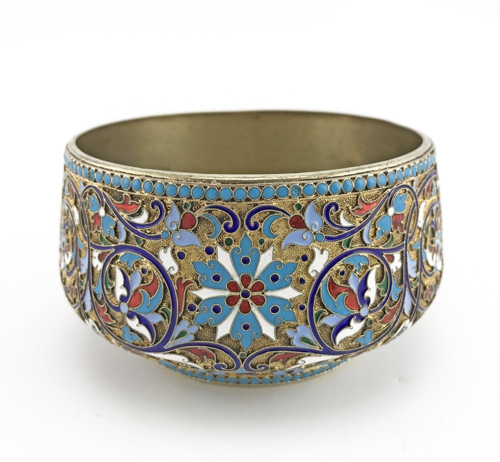 A Russian gilded silver and cloisonne enamel sugar bowl
