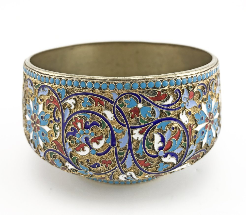 A Russian gilded silver and cloisonne enamel sugar bowl - 2