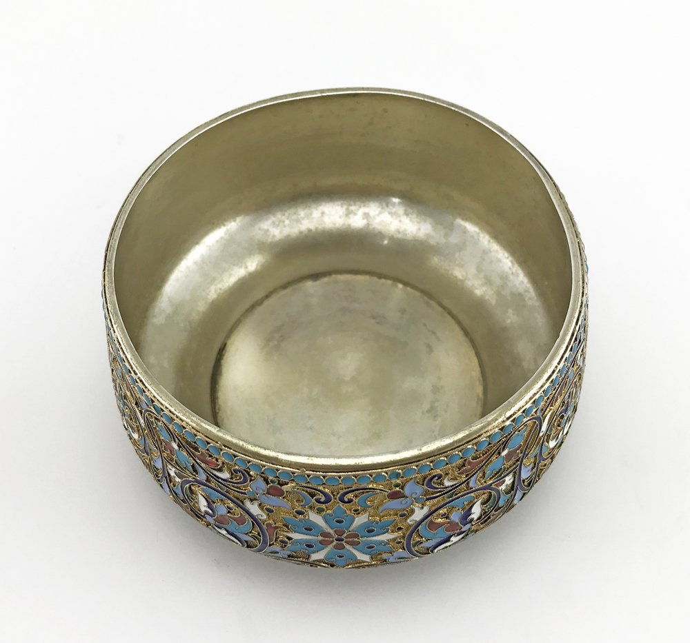 A Russian gilded silver and cloisonne enamel sugar bowl - 3
