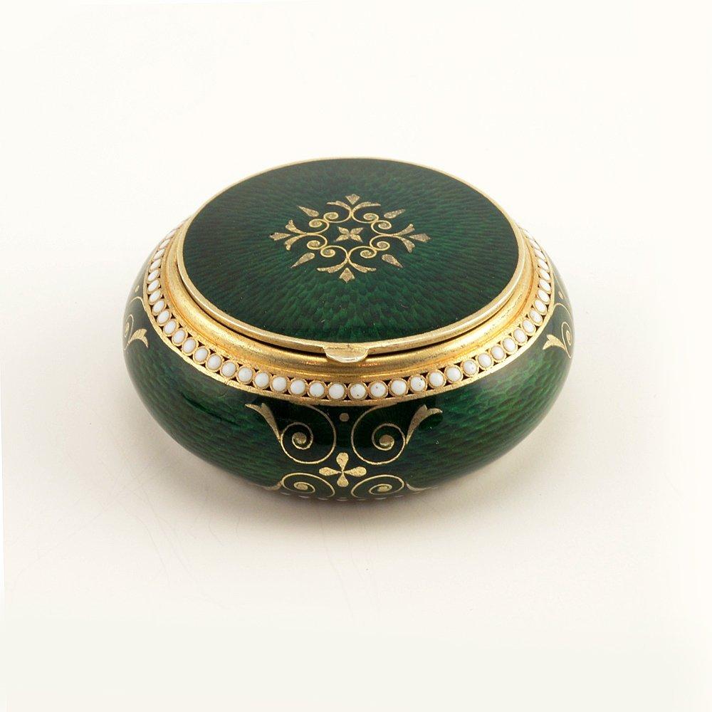 A Russian gilded silver & guilloche enamel pill box