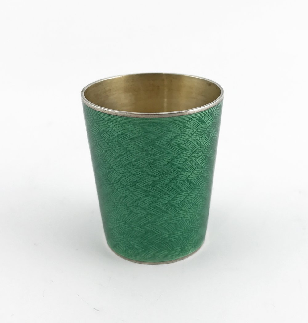 A Russian gilded silver and guilloche enamel beaker