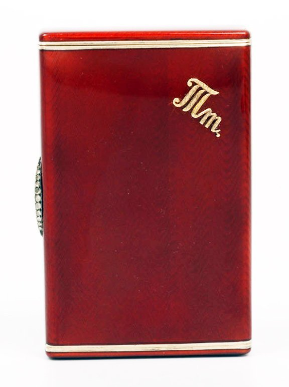 Russian gold-mounted silver & guilloche cigarette case
