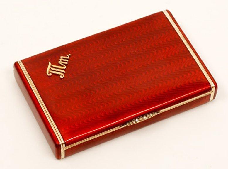 Russian gold-mounted silver & guilloche cigarette case - 2