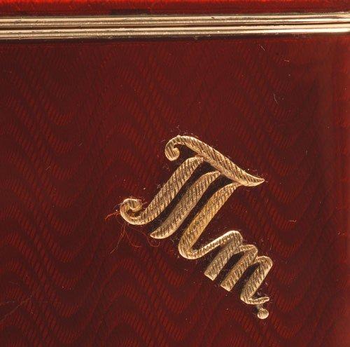 Russian gold-mounted silver & guilloche cigarette case - 3