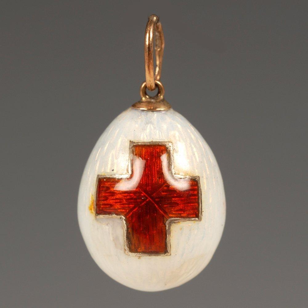 Faberge gold & guilloche enamel mini pendant Easter egg