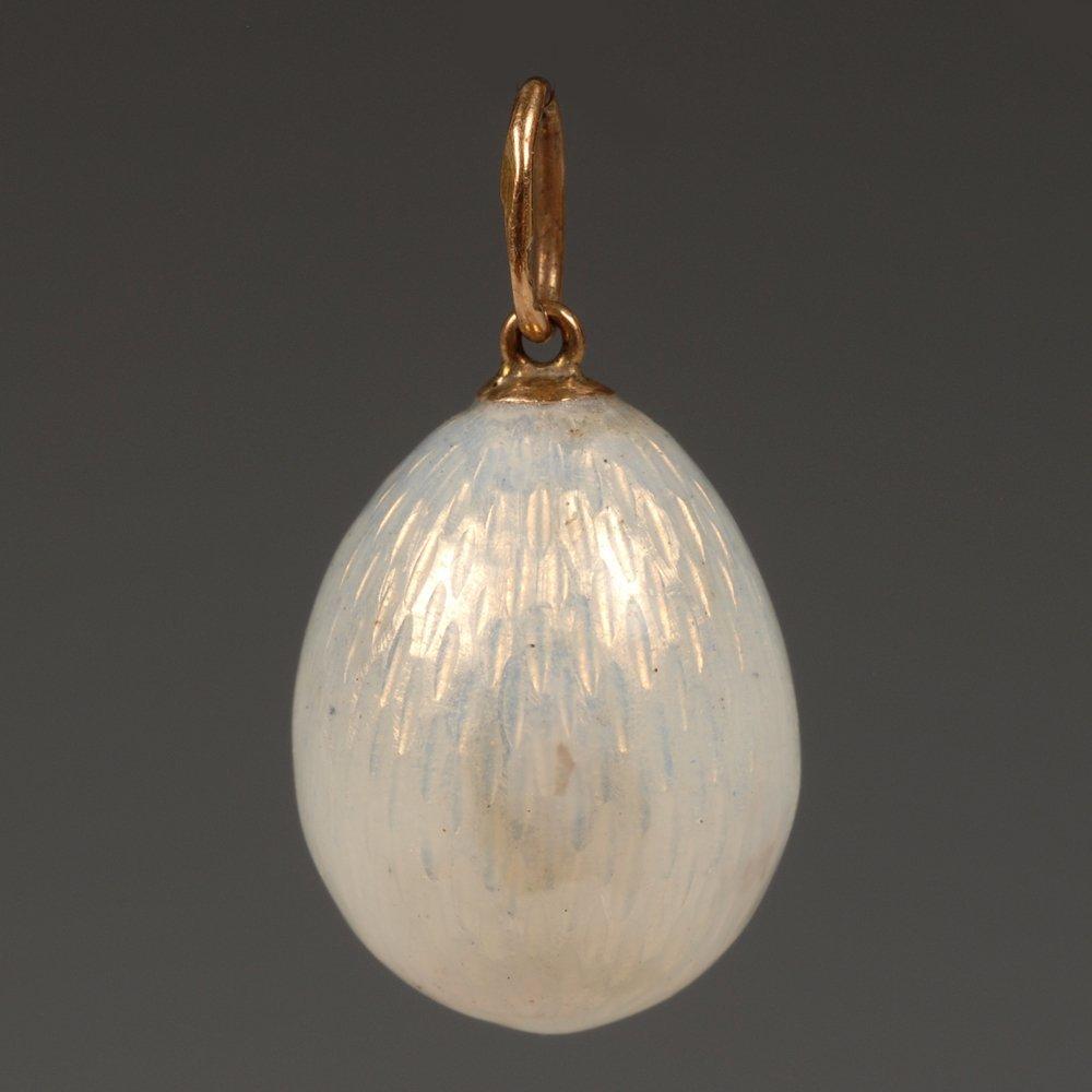 Faberge gold & guilloche enamel mini pendant Easter egg - 2