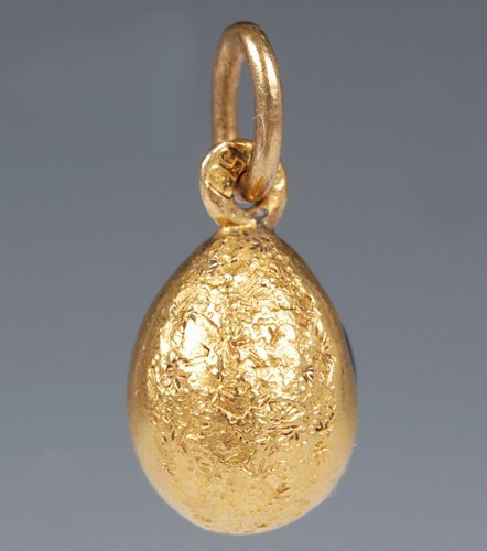 A Russian sapphire-set gold pendant egg - 2