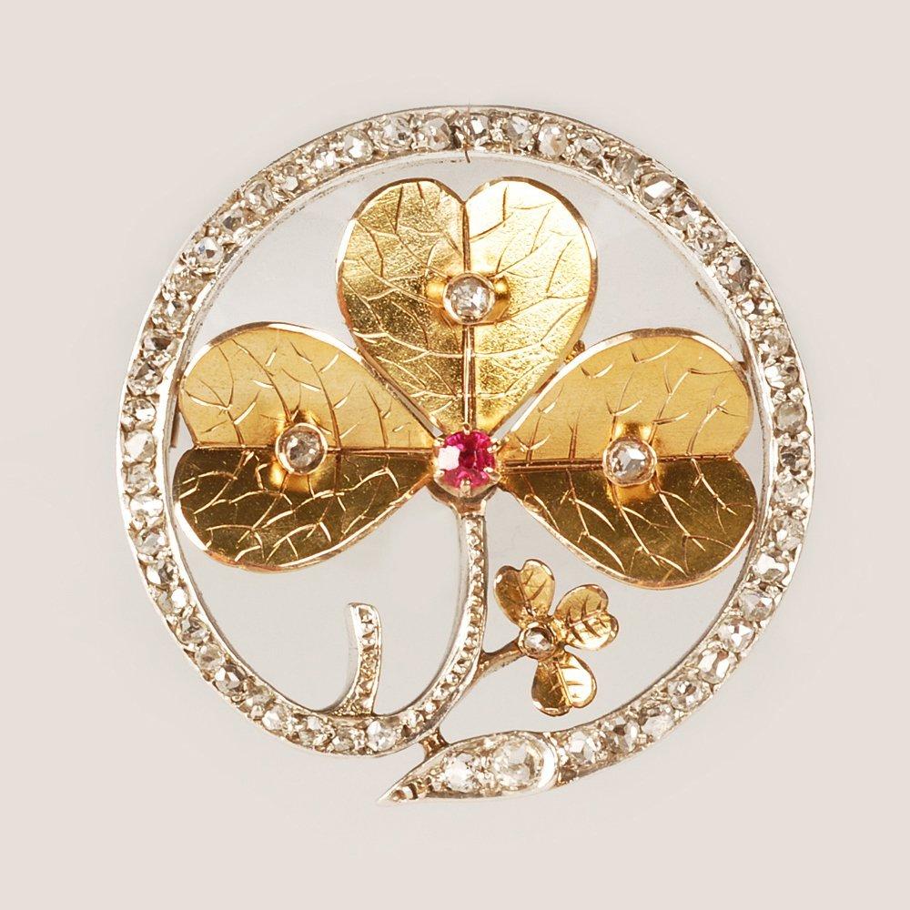 A Russian gold diamond & gem-set brooch, 1899-1908