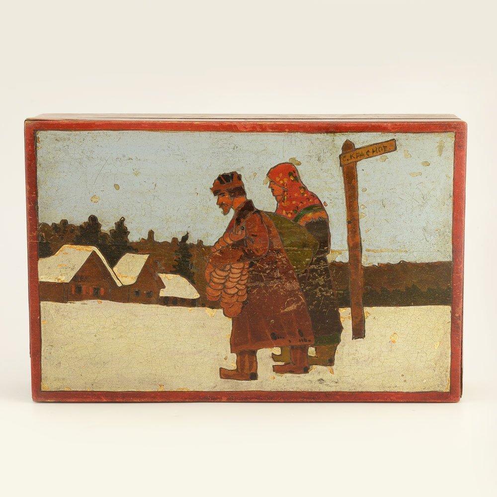 A Russian folk or kustar art table box