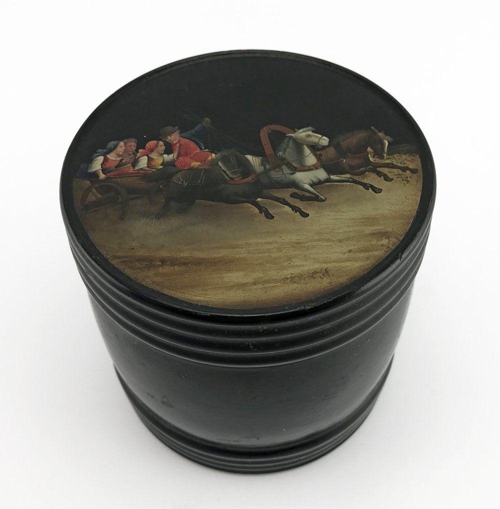 A Russian lacquer tea caddy