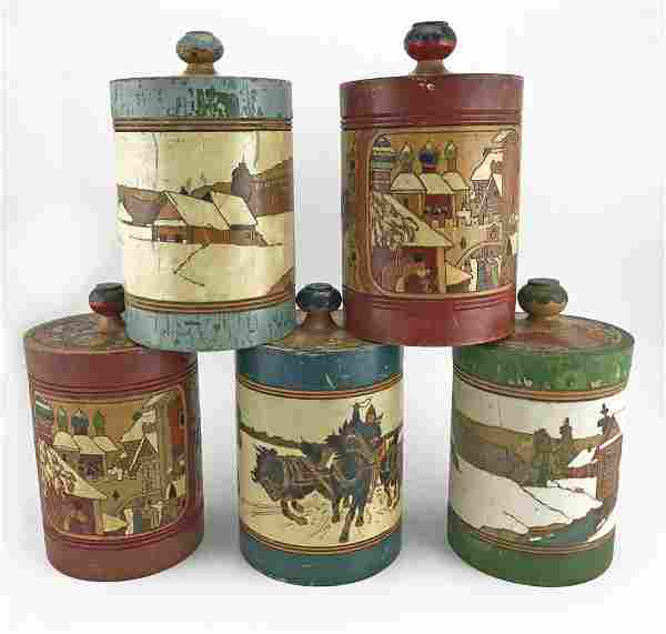 Five Russian kustar or folk art tea caddies, ca1900