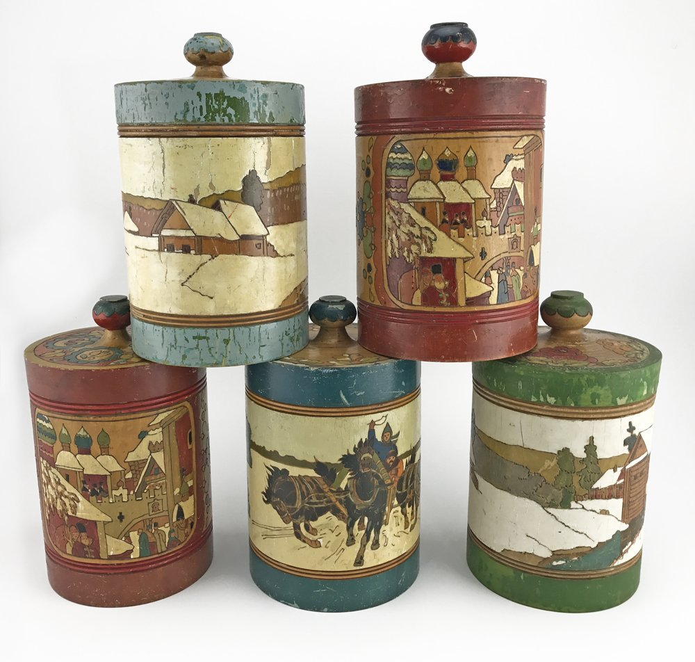 Five Russian kustar or folk art tea caddies, ca1900