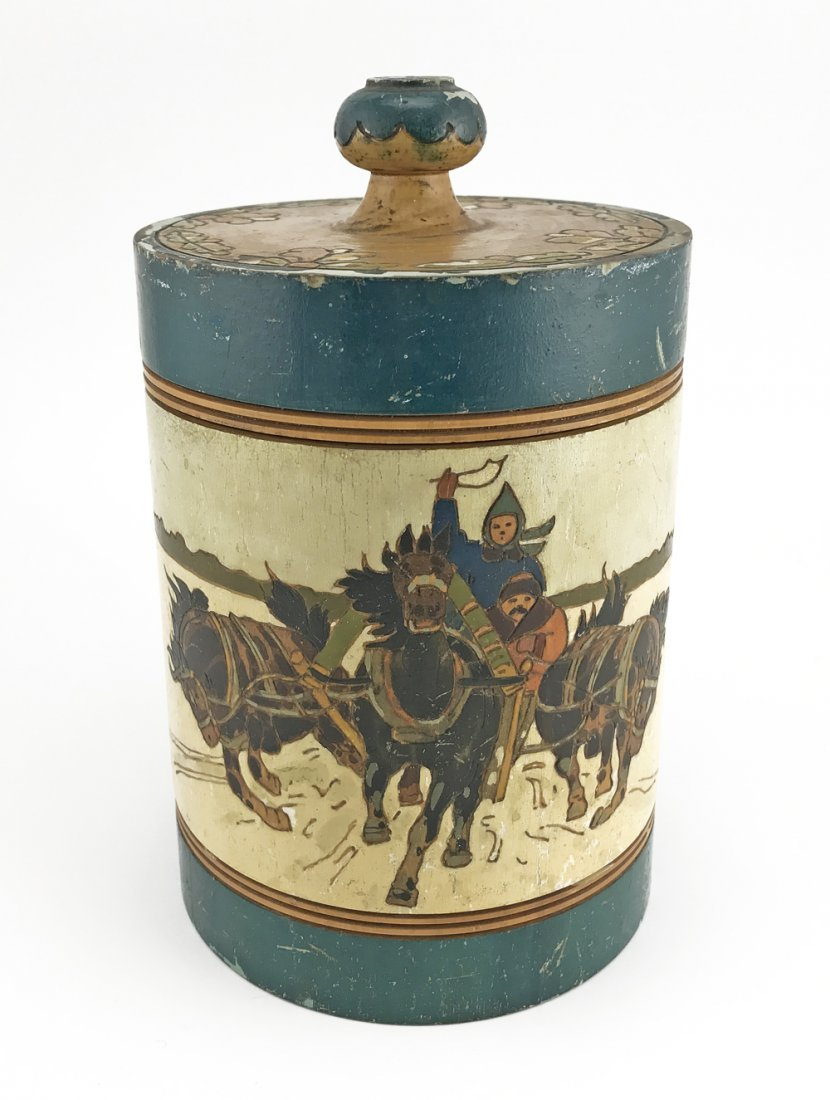 Five Russian kustar or folk art tea caddies, ca1900 - 3