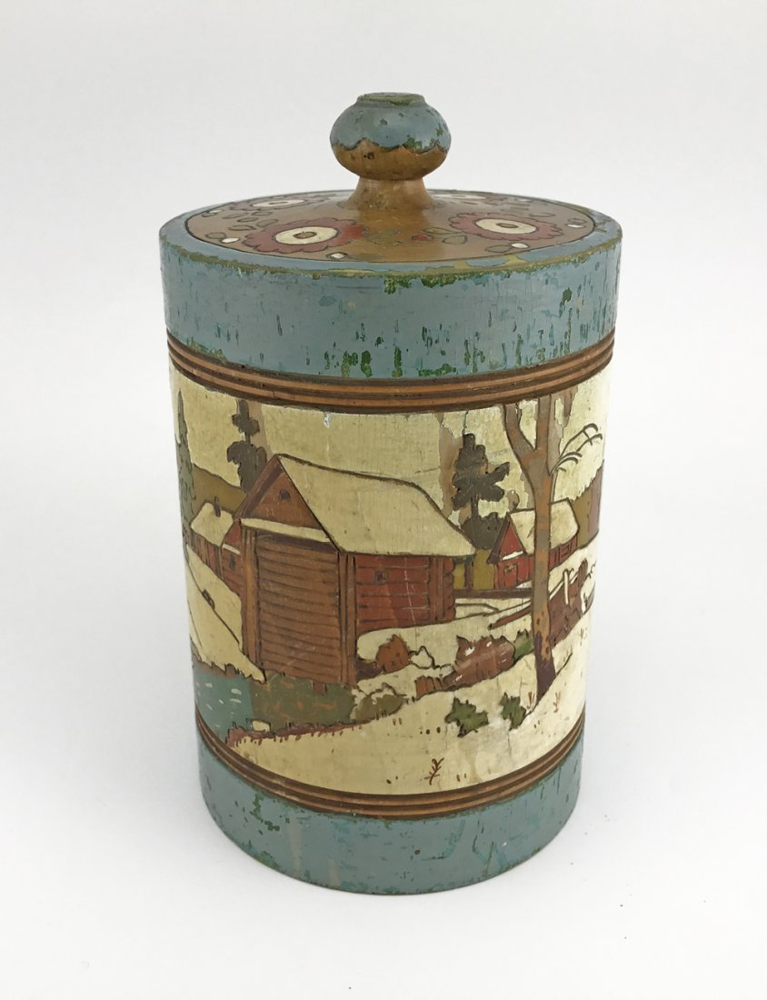 Five Russian kustar or folk art tea caddies, ca1900 - 4