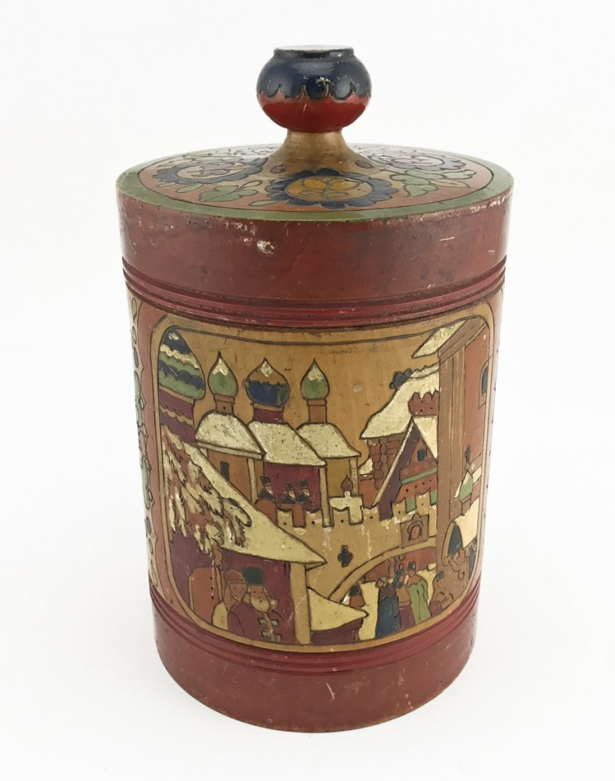 Five Russian kustar or folk art tea caddies, ca1900 - 5