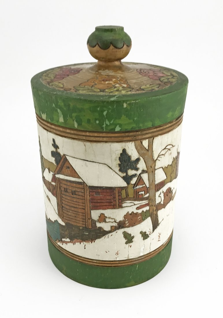 Five Russian kustar or folk art tea caddies, ca1900 - 6