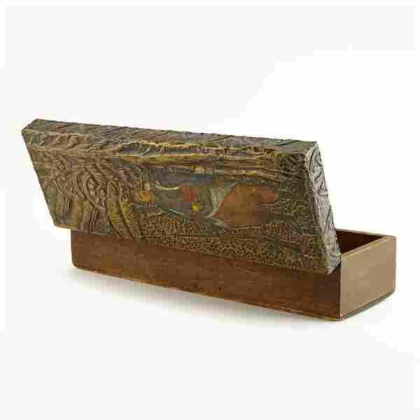 World War I: Russian folk or kustar art carved wood box