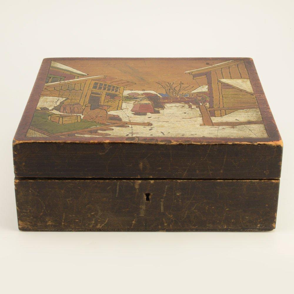 A Russian kustar or folk art jewelry box - 2