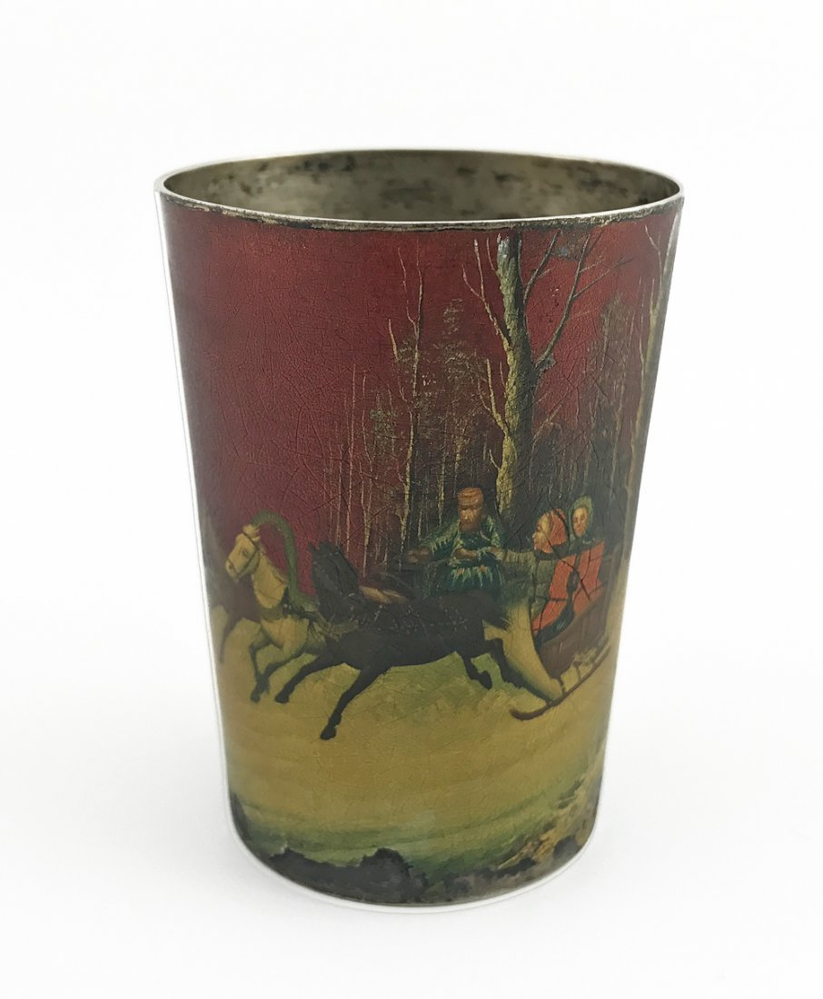 A Russian lacquered silver beaker