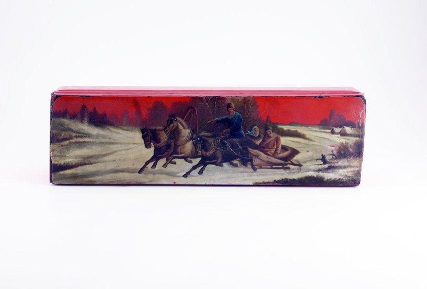 A Russian lacquer glove box, ca1890