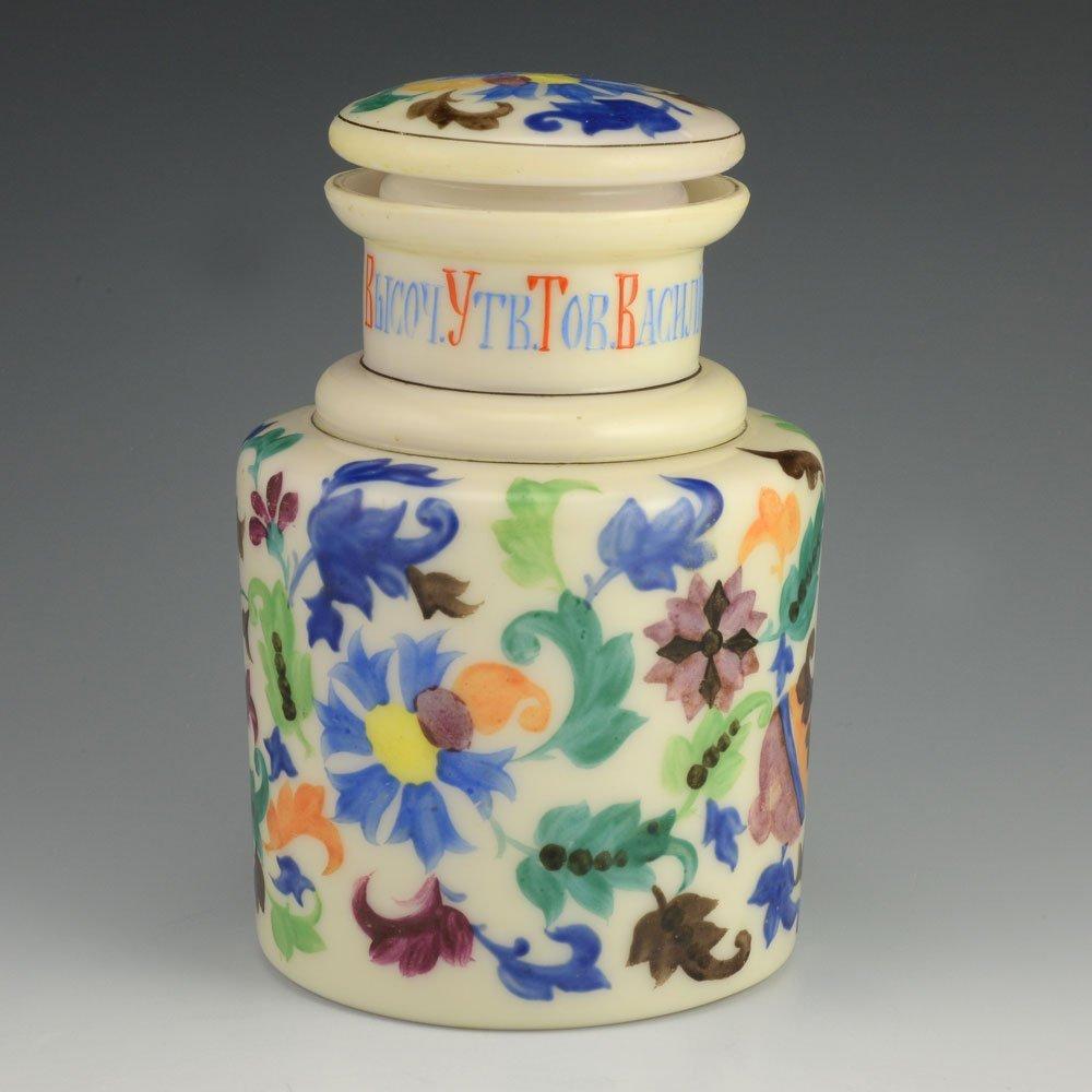 A Russian milk glass tea caddy, late 19th century