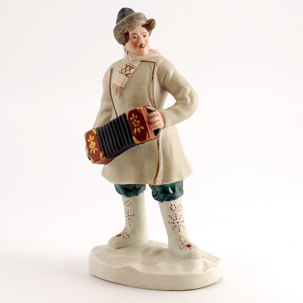 Soviet biscuit porcelain figure, accordion player, 1930
