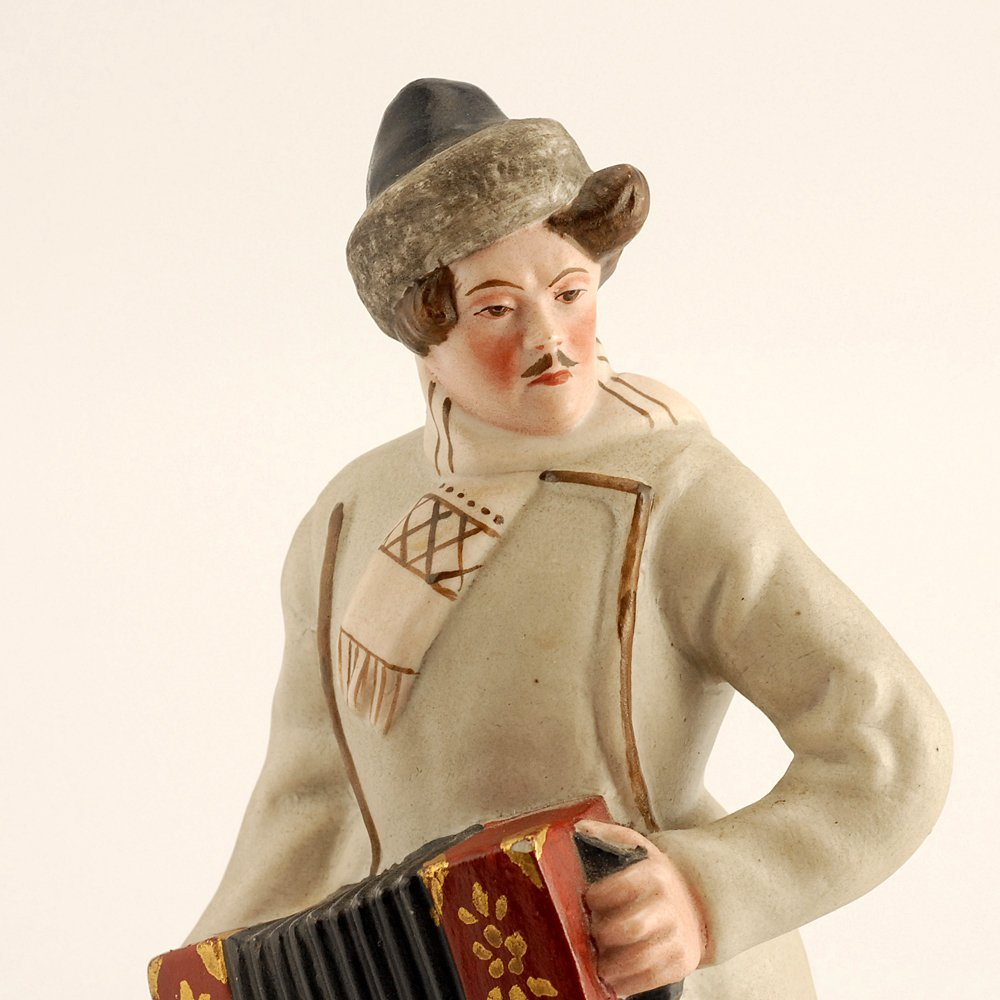 Soviet biscuit porcelain figure, accordion player, 1930 - 2