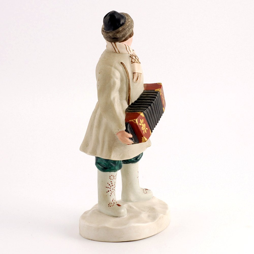 Soviet biscuit porcelain figure, accordion player, 1930 - 4