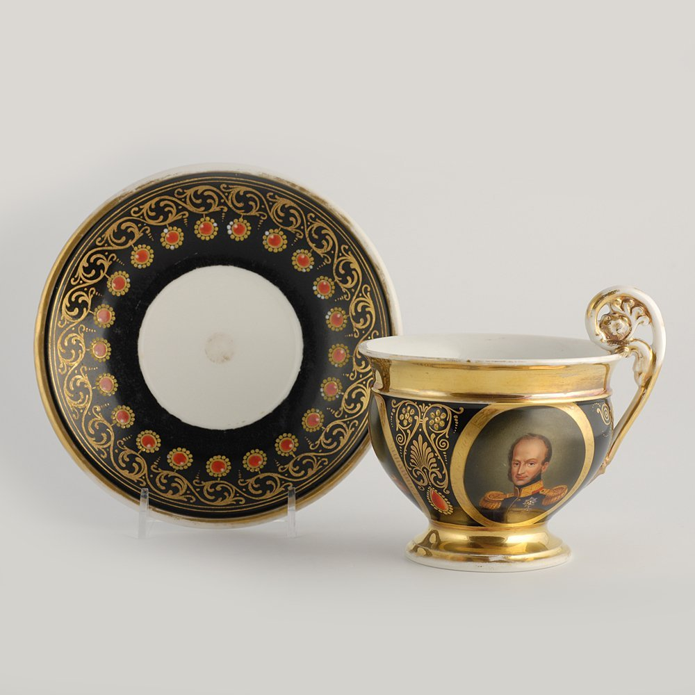 Porcelain cabinet cup & saucer, possibly Paris, c 1815