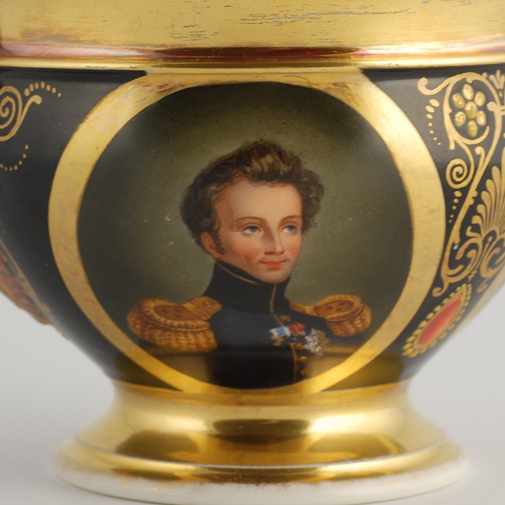 Porcelain cabinet cup & saucer, possibly Paris, c 1815 - 3
