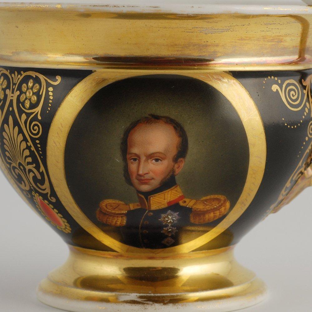 Porcelain cabinet cup & saucer, possibly Paris, c 1815 - 4