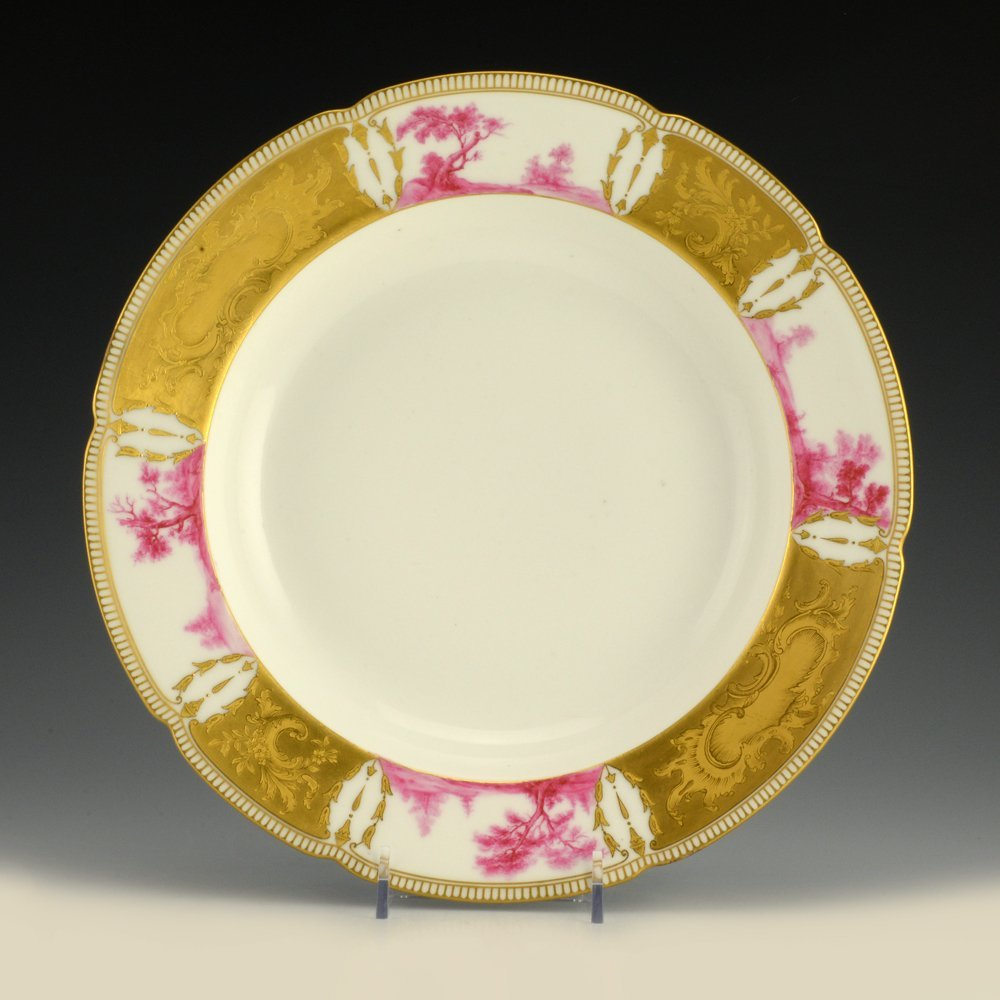 A Russian porcelain soup plate from the Purple Service