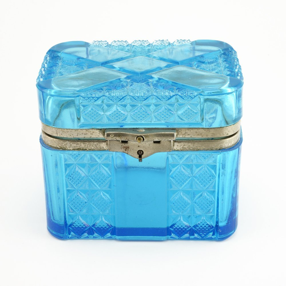A Russian pressed glass tea caddy, early 20th century