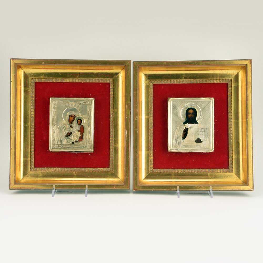 Wedding pair of Russian icons with gilded silver oklads