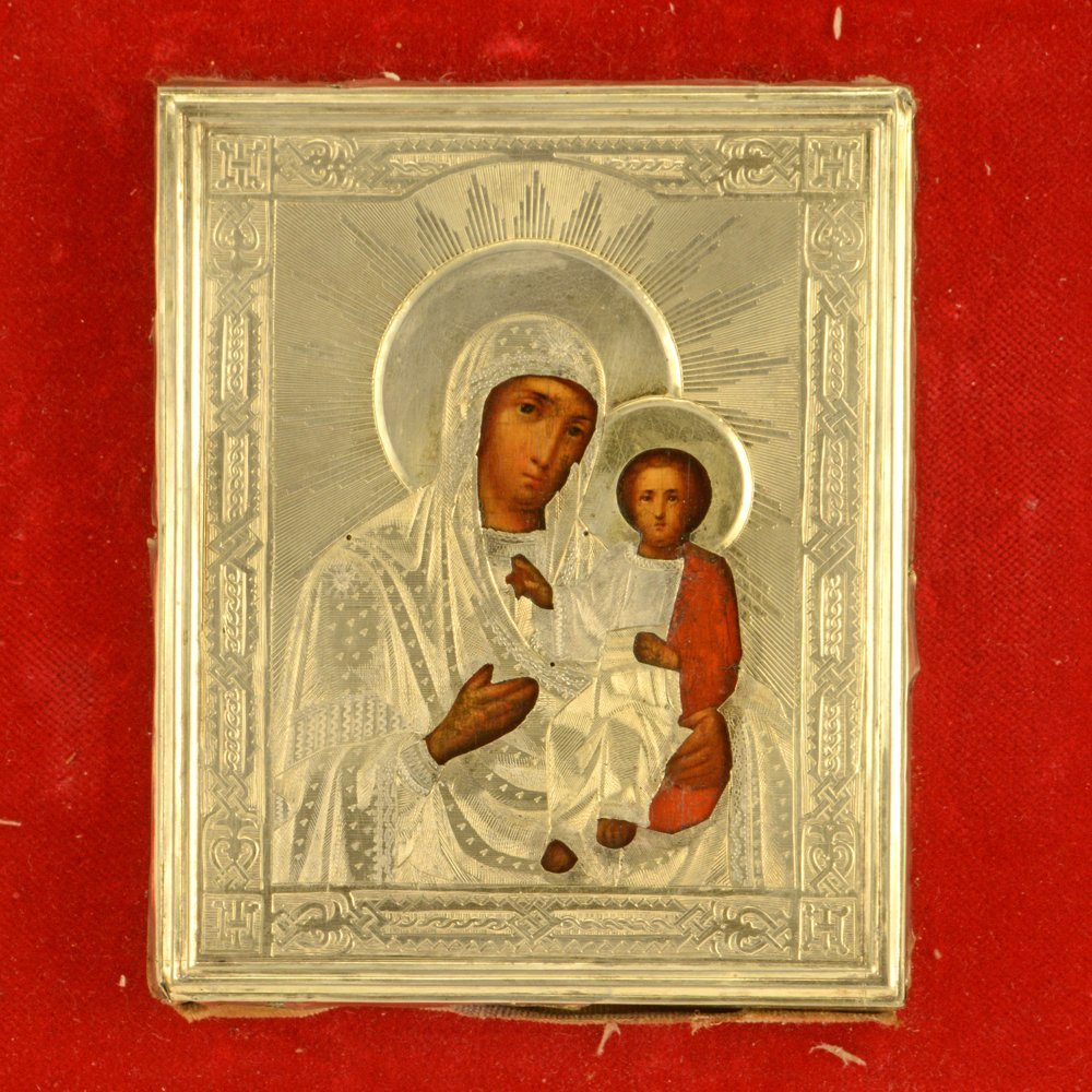Wedding pair of Russian icons with gilded silver oklads - 3