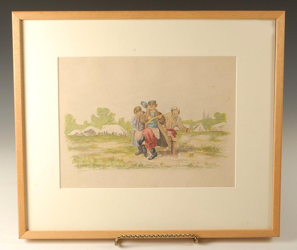 A Russian watercolor of carousing peasants, 1906