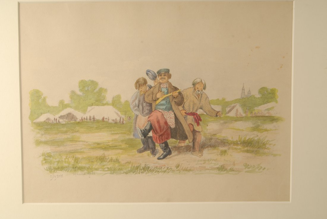A Russian watercolor of carousing peasants, 1906 - 2