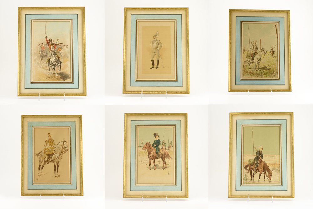 6 colored etchings of Cossacks & Russian military