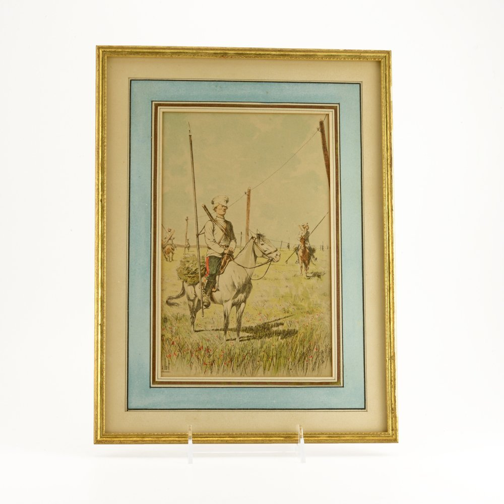 6 colored etchings of Cossacks & Russian military - 2
