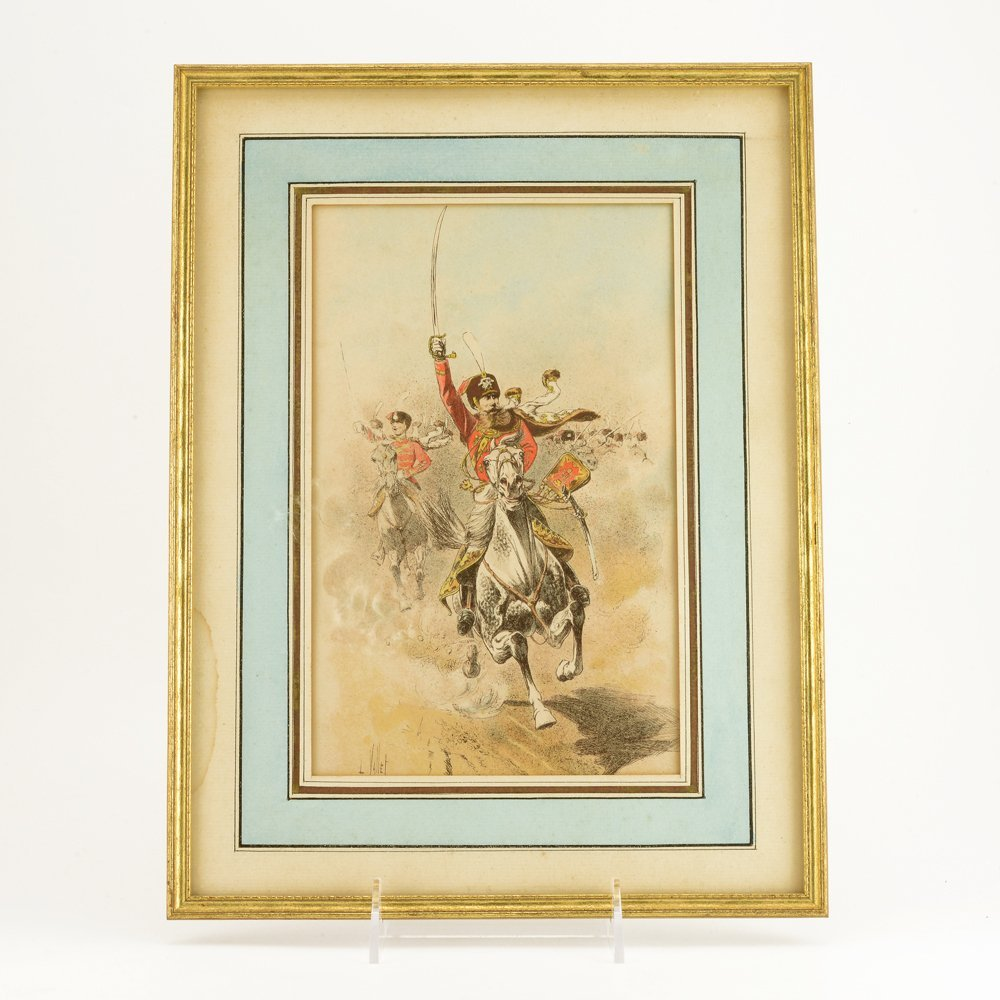 6 colored etchings of Cossacks & Russian military - 6