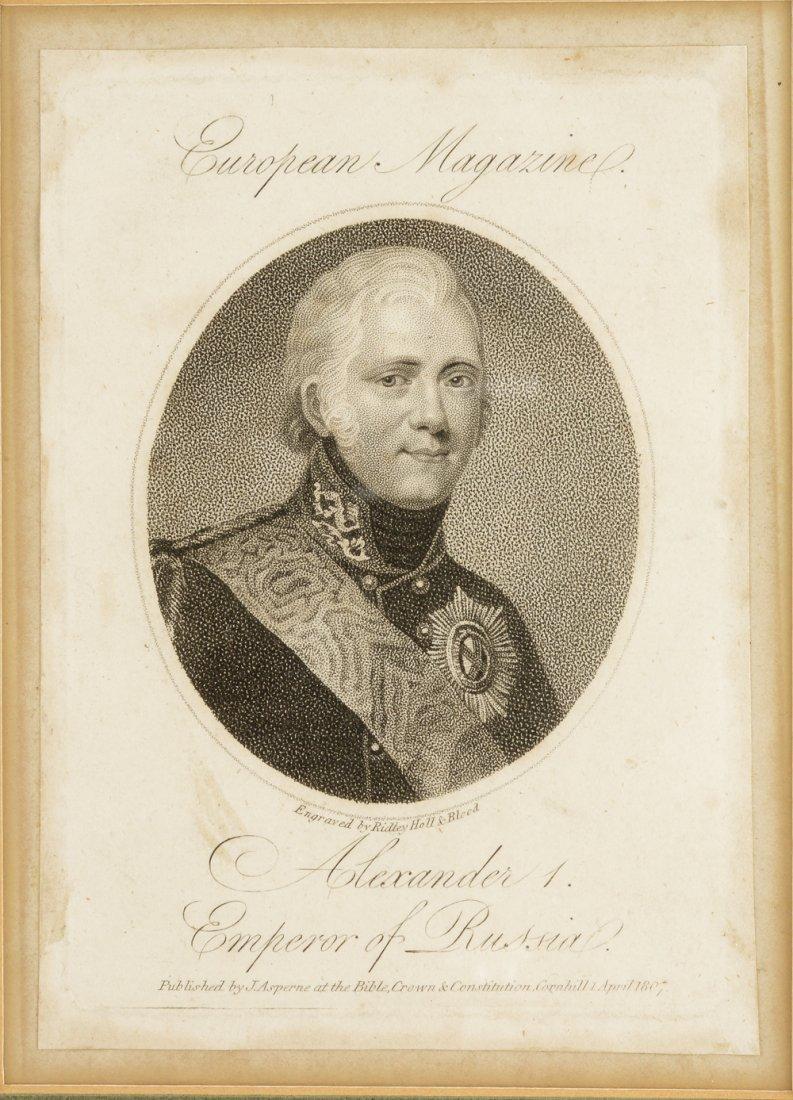 An engraved portrait of Emperor Alexander I, circa 1807
