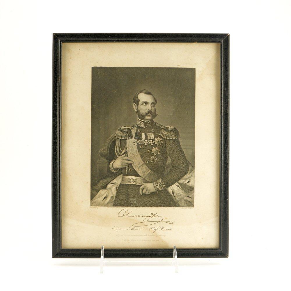 An engraved portrait of Emperor Alexander II, c 1871