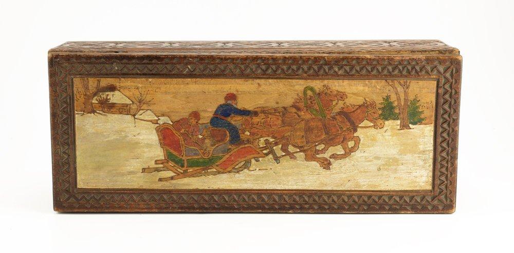 Large Russian kustar or folk art table box, circa 1900